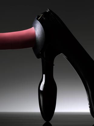 our dildo shoe accessory allows a dildo to be fixed to the heel of the shoe