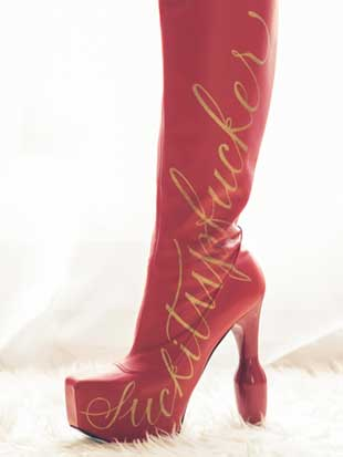calligraphic decoration on knee boot